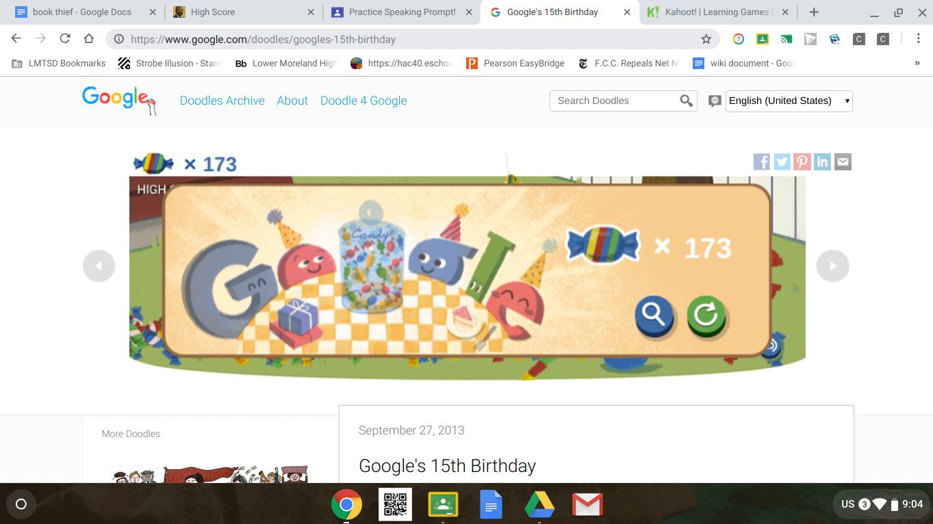 Jasonthejew: Google 15th Birthday Doodle (Web) 173 points on 2018-12-21 08:04:47
