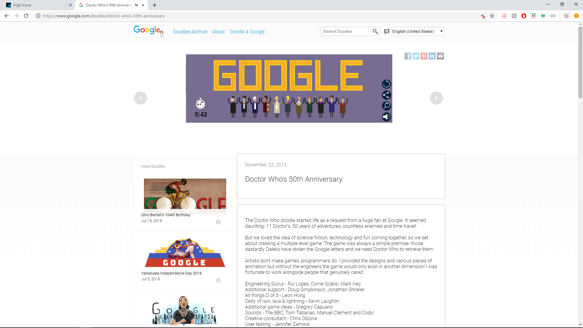 Google Doctor Who Doodle time of 0:05:42