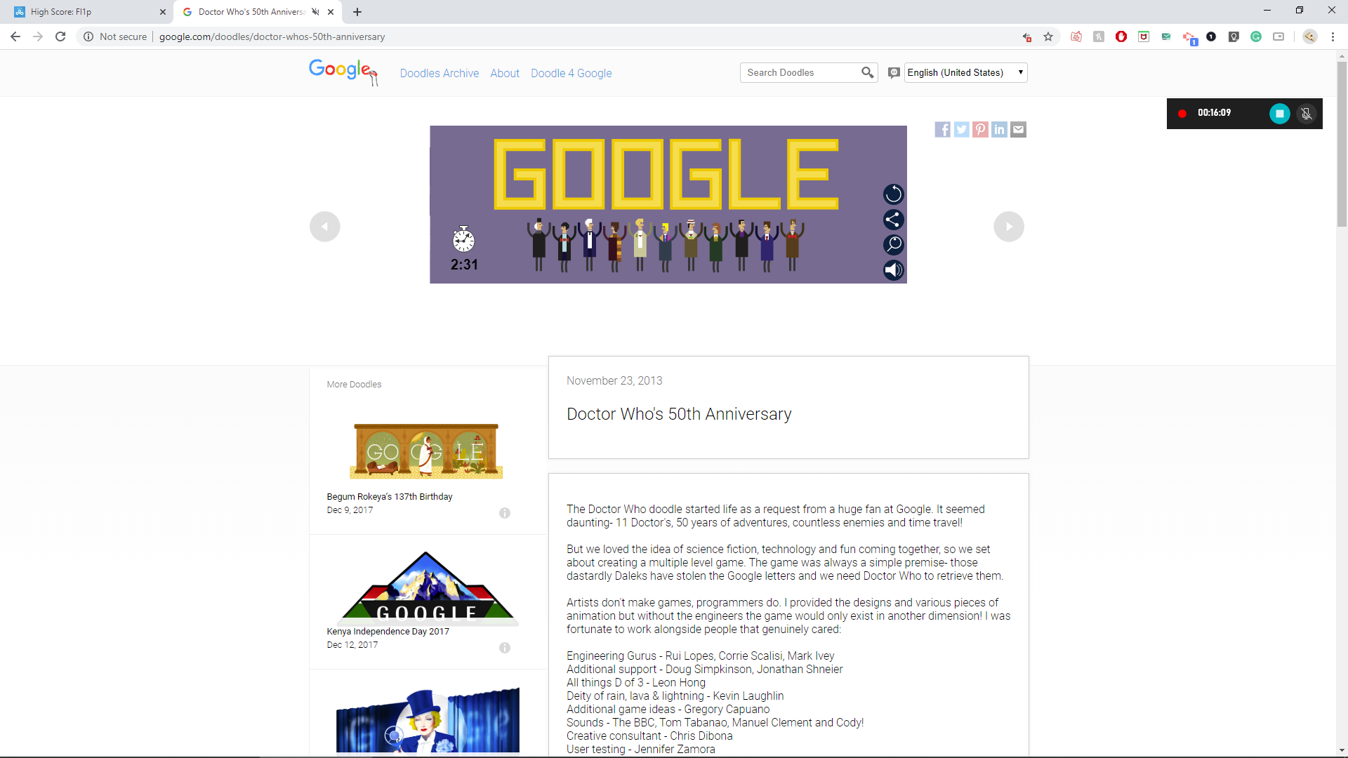 Fl1p: Google Doctor Who Doodle (Web) 0:02:31 points on 2020-04-22 01:08:46