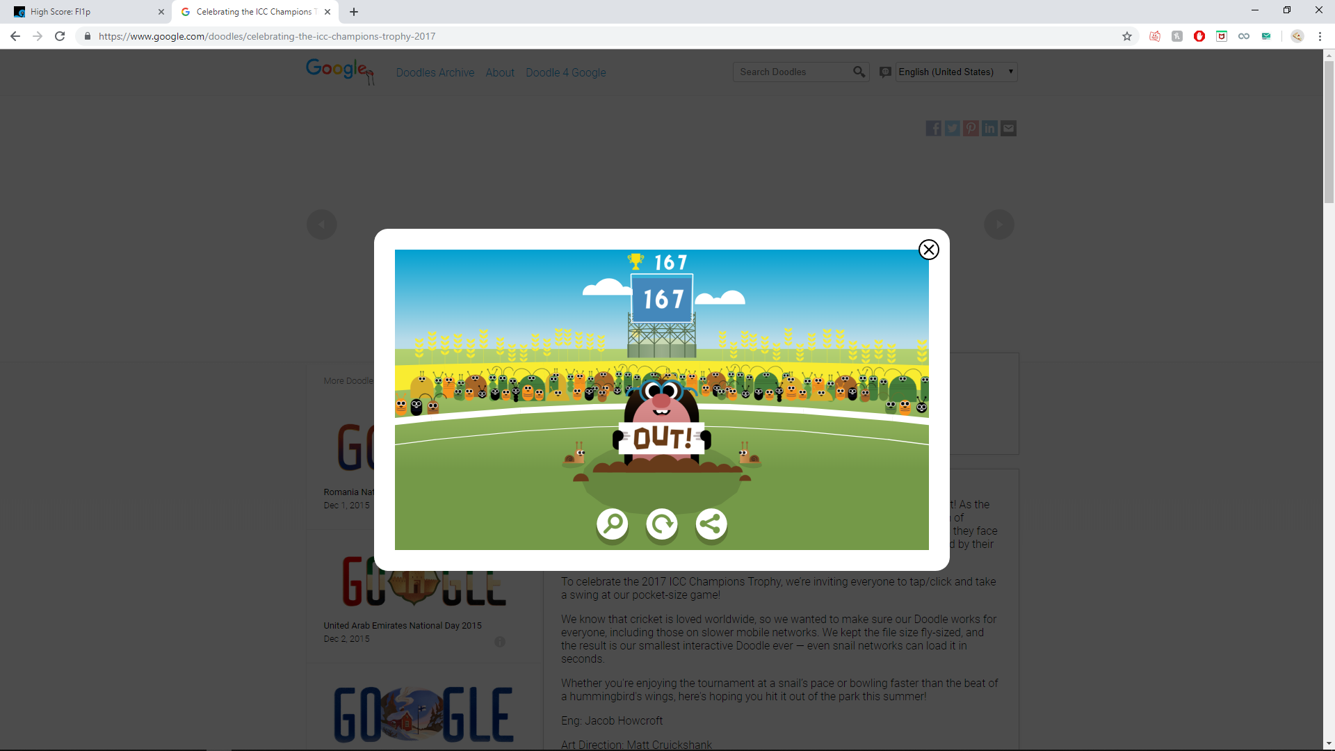 Google Doodle Cricket 167 points