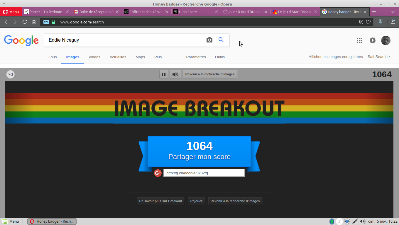 Google Image Breakout 1,064 points