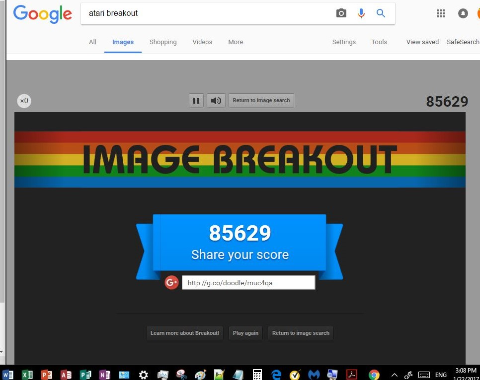 Google Image Breakout 85,629 points