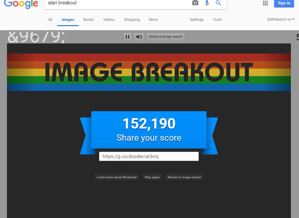 Google Image Breakout 152,190 points