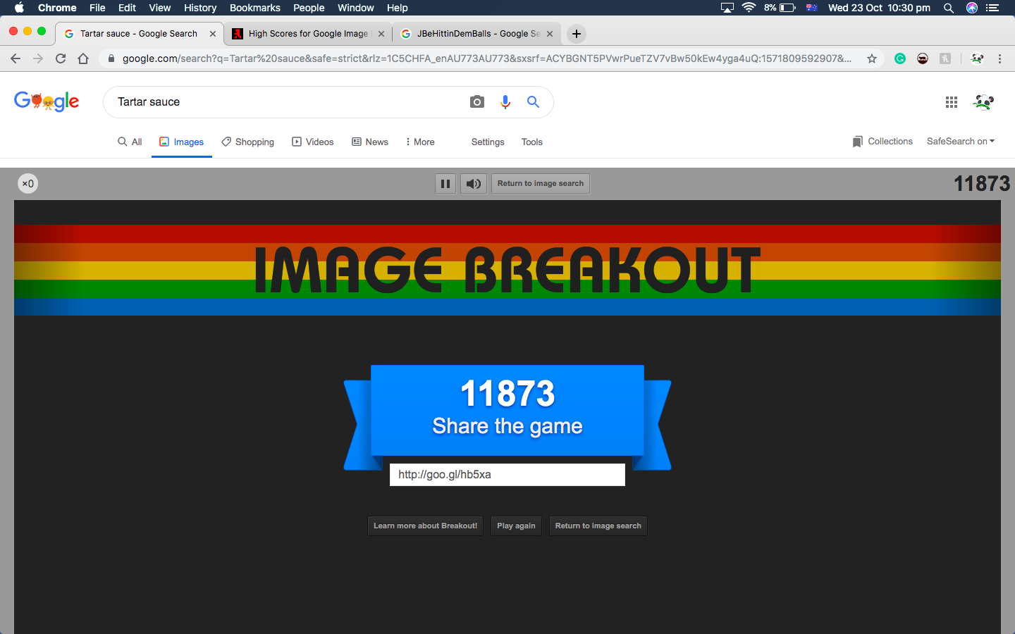 Google Image Breakout 11,873 points