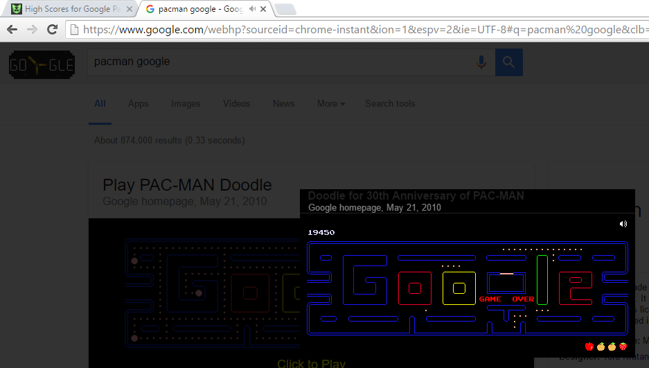 Google Pac-Man 19,450 points