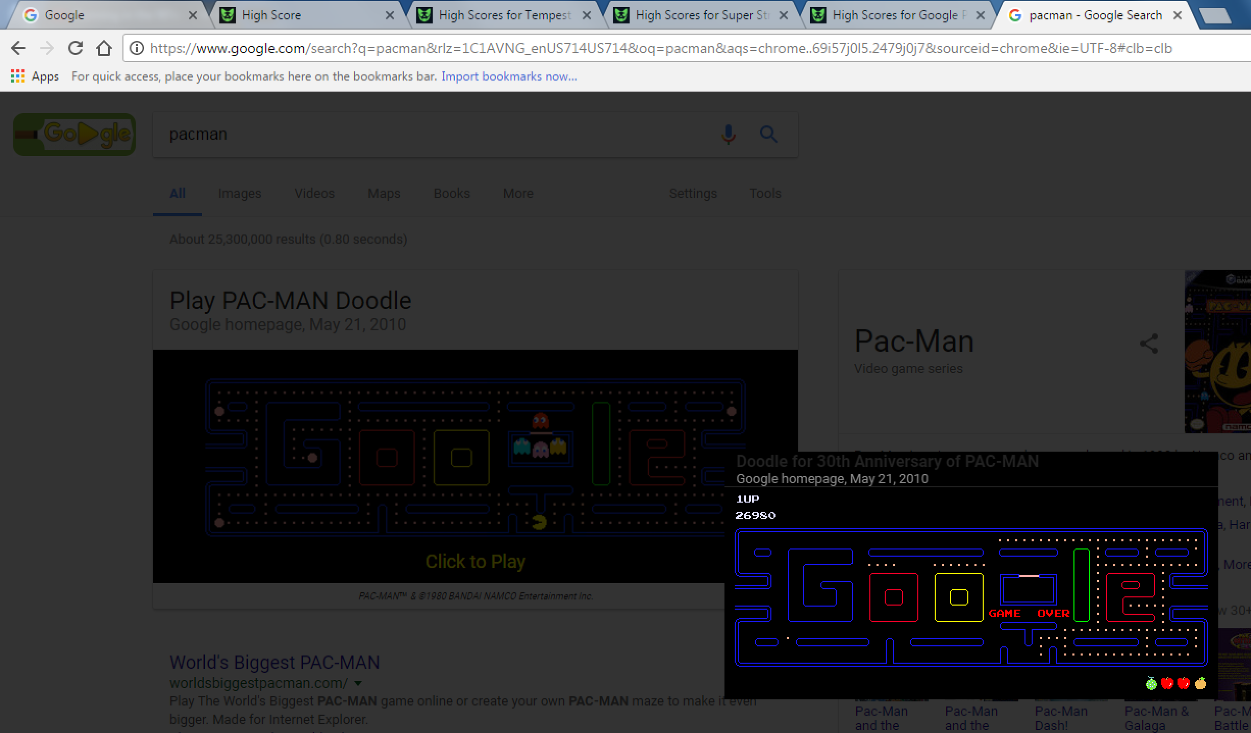 GoldWolf: Google Pac-Man (Web) 26,980 points on 2017-06-13 20:15:31