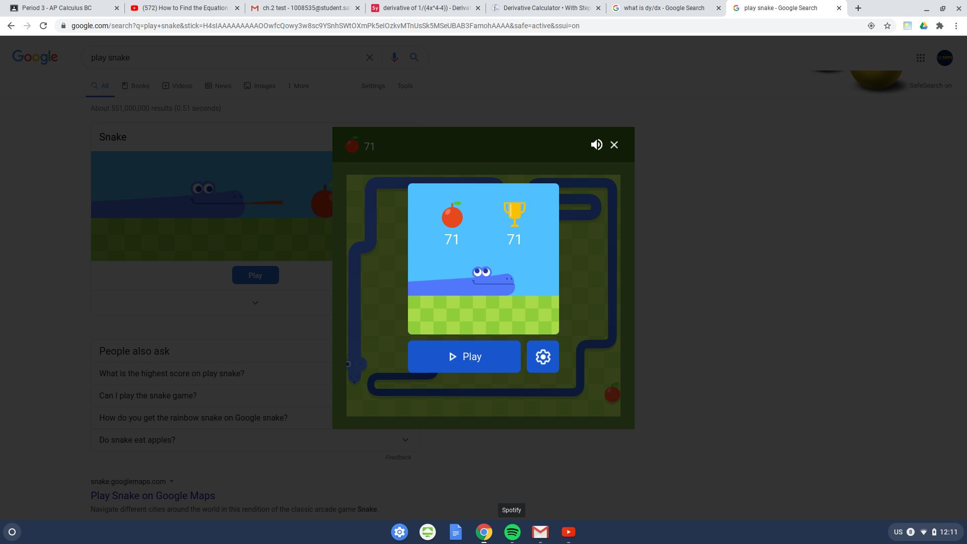 Google Snake 71 points