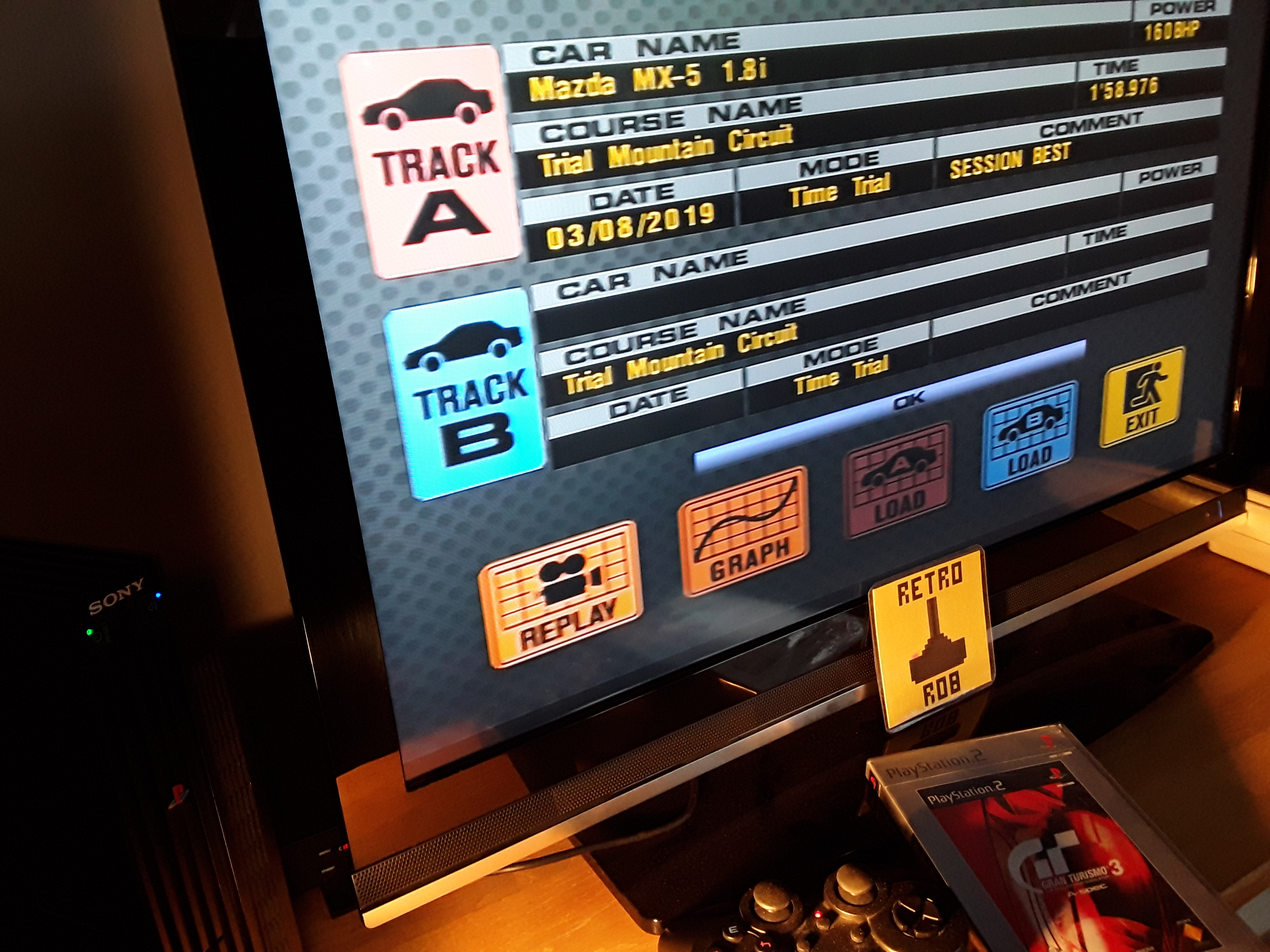 RetroRob: Gran Turismo 3: A-Spec [Time Trial] [Trial Mountain] (Playstation 2) 0:01:58.976 points on 2019-08-07 13:12:11