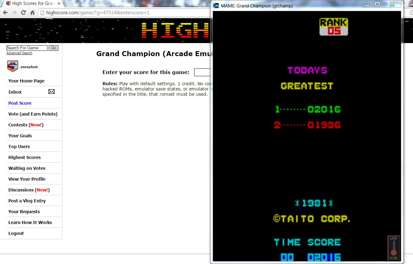 arenafoot: Grand Champion (Arcade Emulated / M.A.M.E.) 2,016 points on 2016-04-11 07:15:23