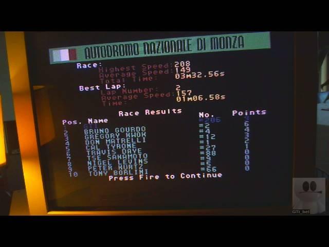 GTibel: Grand Prix Circuit [Autodrome Nationale Di Monza] [Best Lap] (Commodore 64) 0:01:06.58 points on 2019-05-19 02:45:37