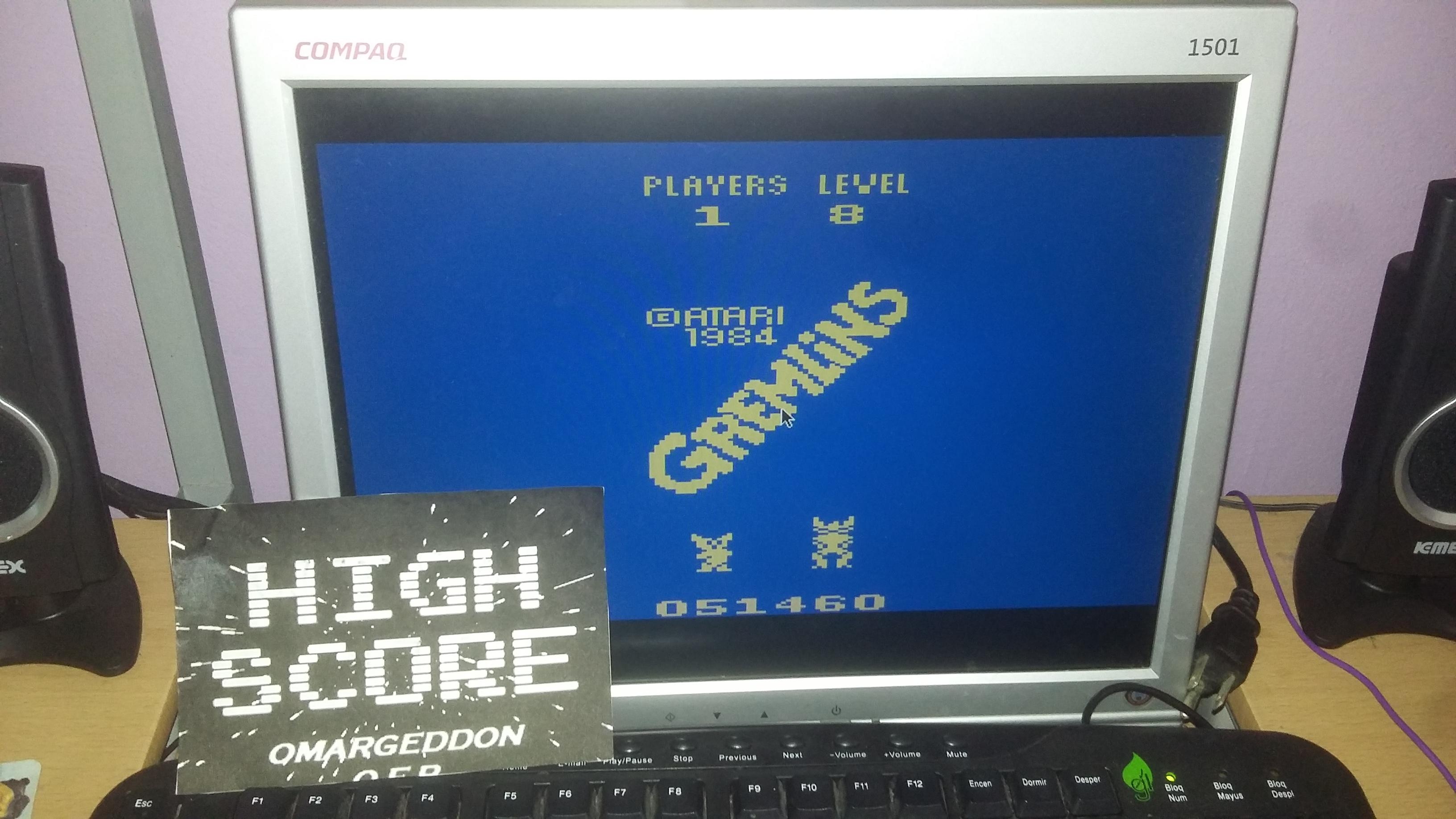 omargeddon: Gremlins (Atari 2600 Emulated Novice/B Mode) 51,460 points on 2016-10-08 12:31:50