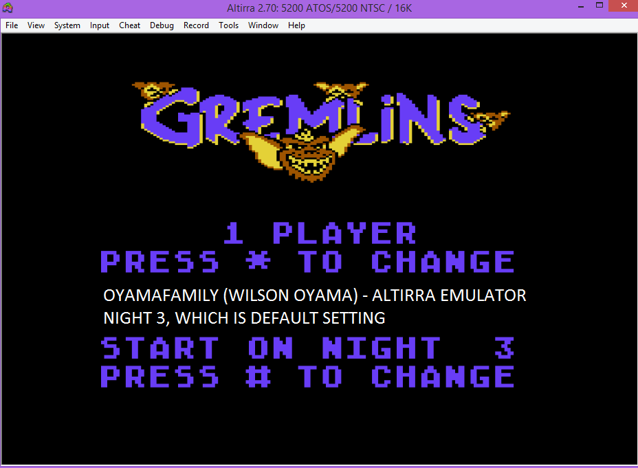 oyamafamily: Gremlins (Atari 5200 Emulated) 8,638 points on 2016-04-23 11:40:57