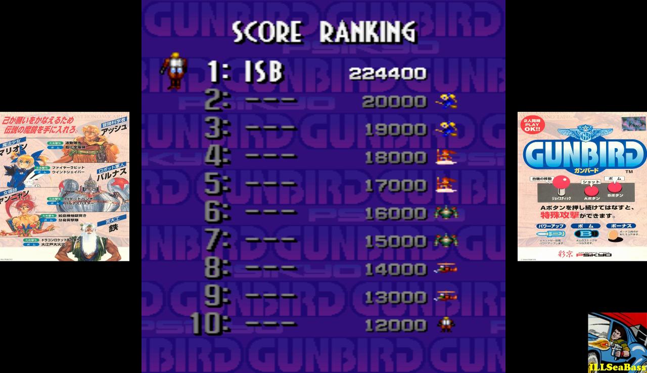 ILLSeaBass: Gunbird [gunbird] (Arcade Emulated / M.A.M.E.) 224,400 points on 2016-12-08 09:01:56
