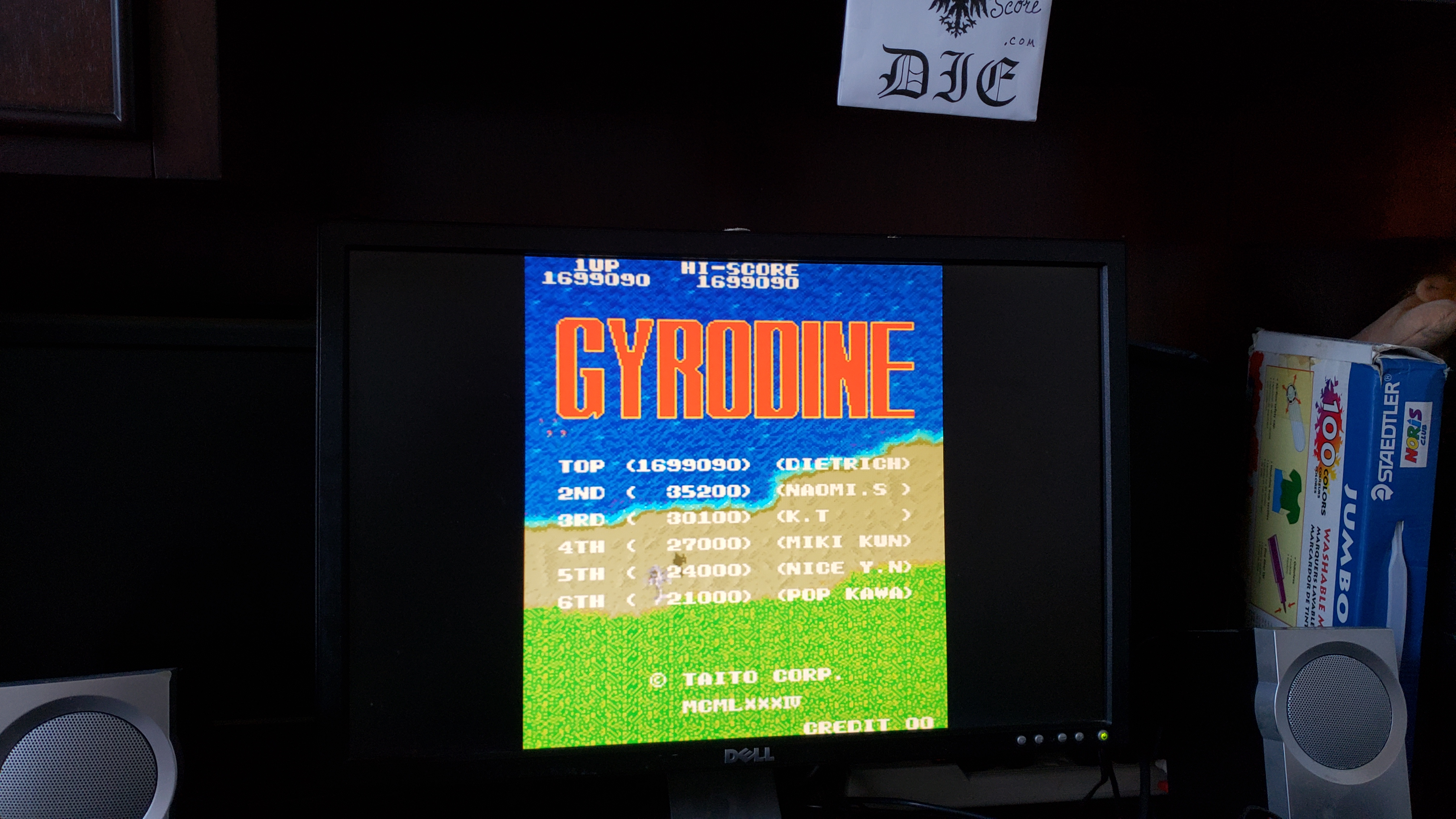 MikeDietrich: Gyrodine [gyrodine] (Arcade Emulated / M.A.M.E.) 1,699,090 points on 2018-12-23 15:50:49