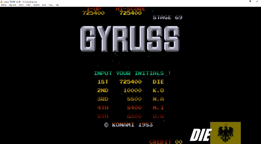 MikeDietrich: Gyruss (Arcade Emulated / M.A.M.E.) 725,400 points on 2016-11-29 03:00:40