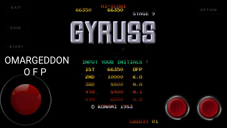 Gyruss 66,350 points