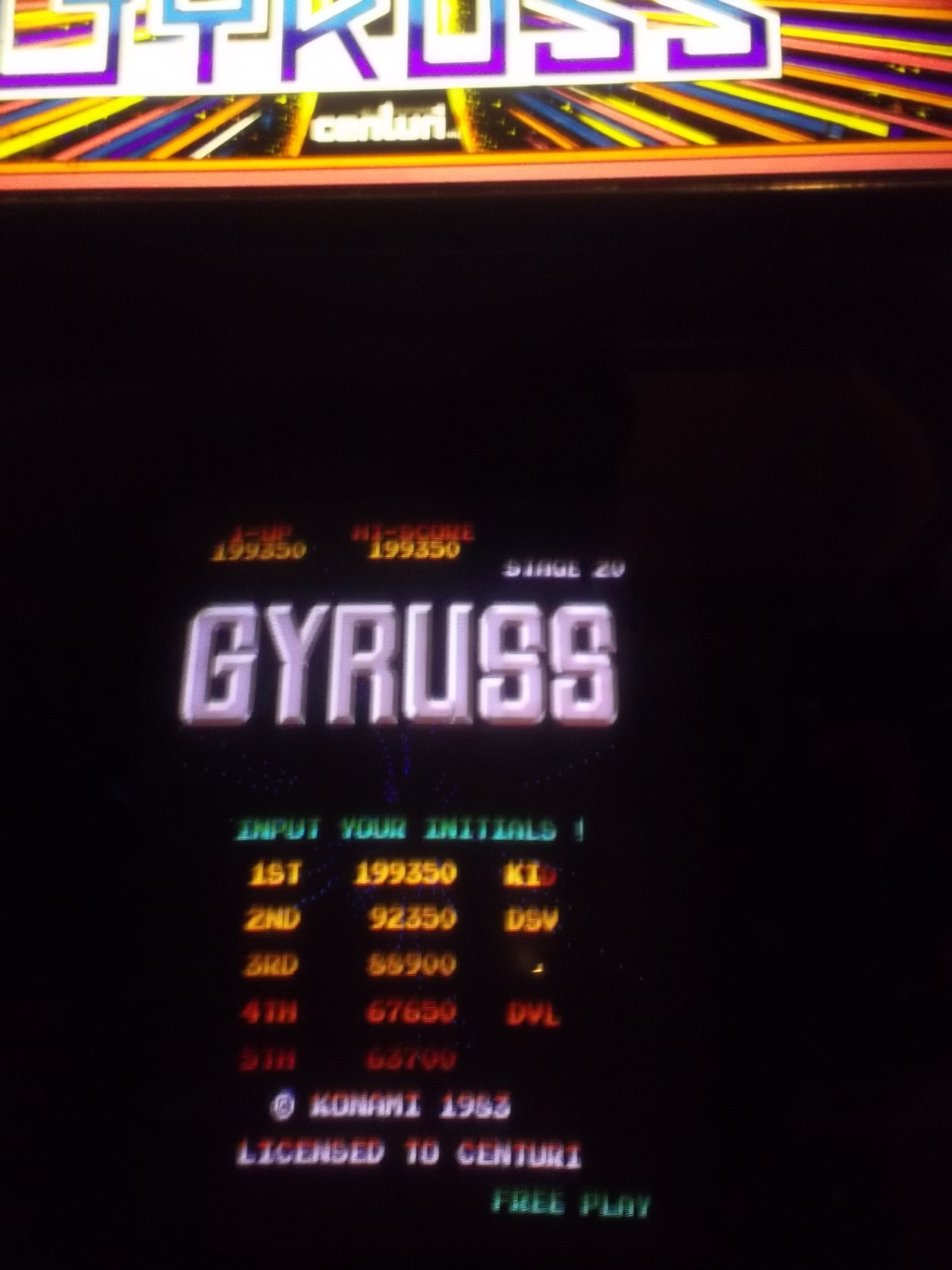 DakotaKid: Gyruss (Arcade) 199,350 points on 2017-05-04 15:52:15