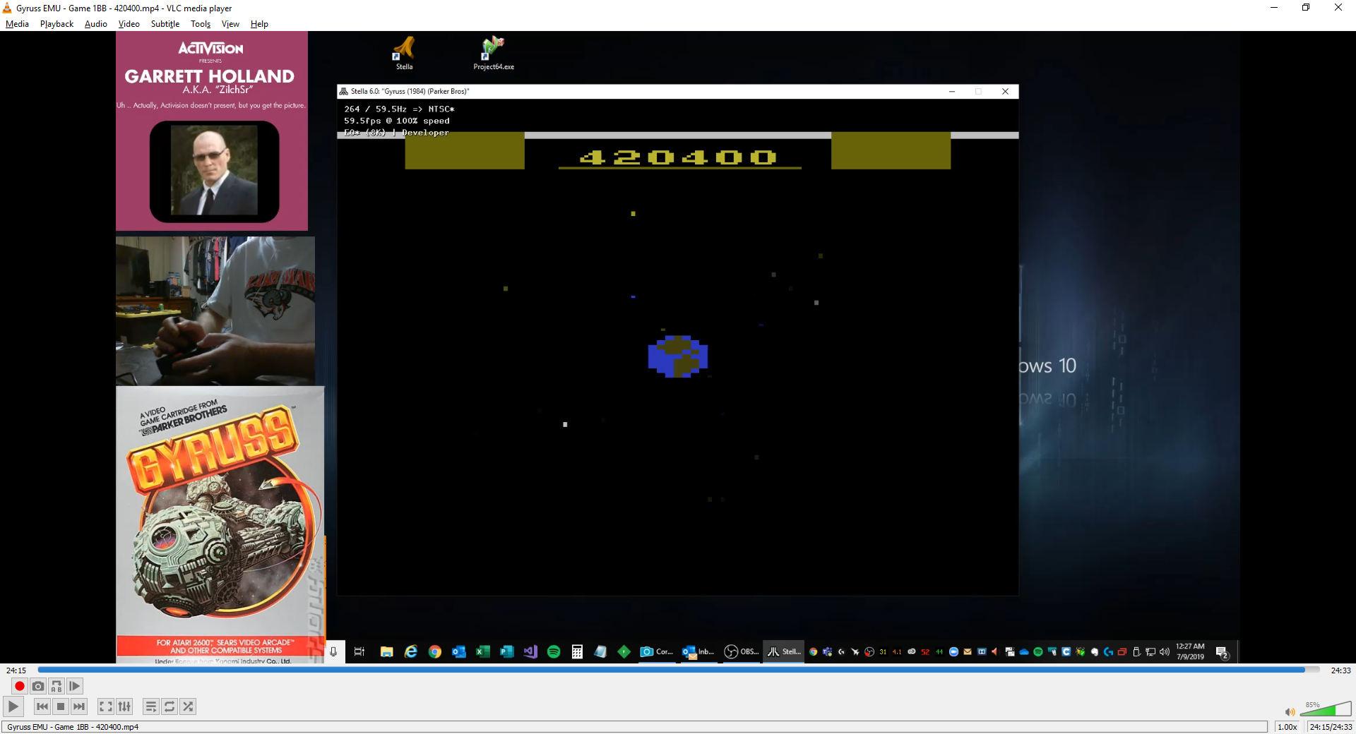 ZilchSr: Gyruss (Atari 2600 Emulated Novice/B Mode) 420,400 points on 2019-08-08 21:00:02