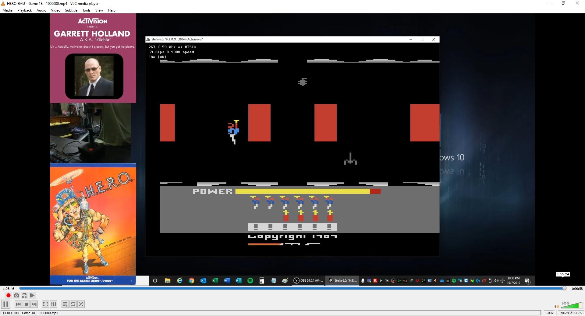 ZilchSr: H.E.R.O.  (Atari 2600 Emulated Novice/B Mode) 1,000,000 points on 2019-10-07 23:28:56
