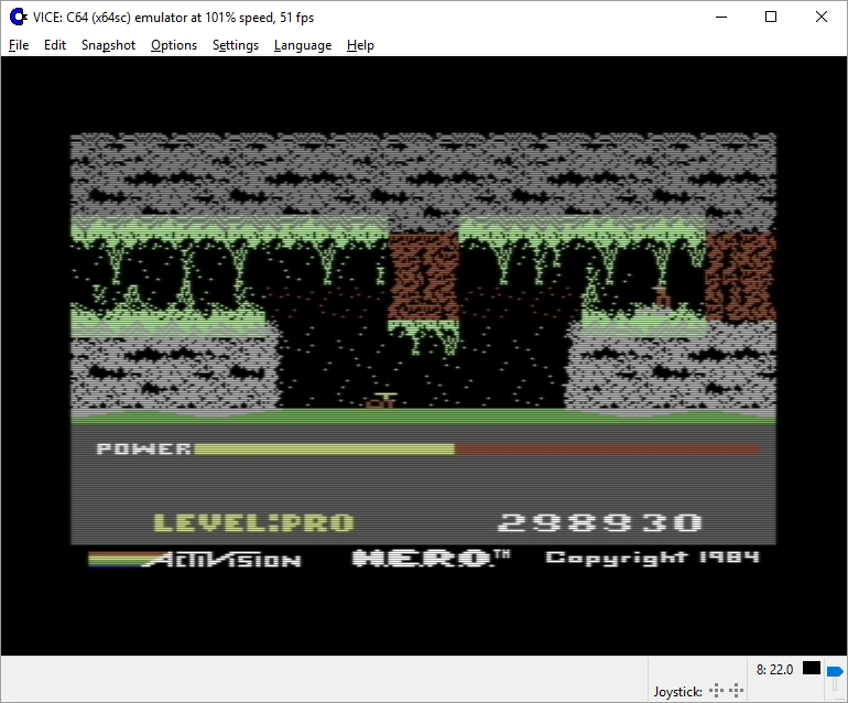 Dumple: H.E.R.O. Game 1 (Commodore 64 Emulated) 298,930 points on 2016-05-03 23:29:30