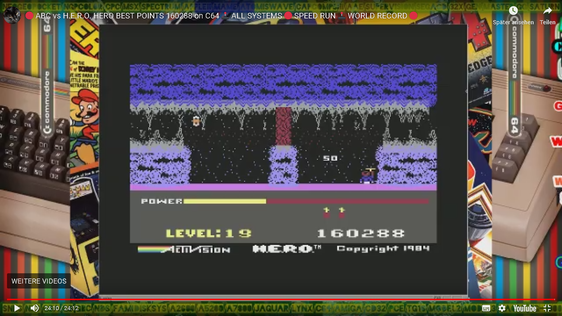 ArcadePlayerABC: H.E.R.O. Game 1 (Commodore 64 Emulated) 160,288 points on 2019-12-16 05:31:14