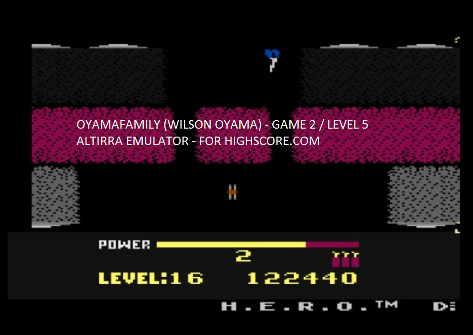 oyamafamily: H.E.R.O. Game 2 (Atari 5200 Emulated) 122,440 points on 2016-02-09 17:51:55