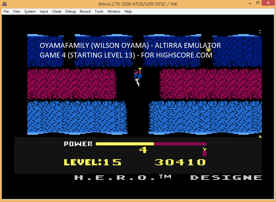 oyamafamily: H.E.R.O. Game 4 (Atari 5200 Emulated) 30,410 points on 2016-02-21 18:40:27