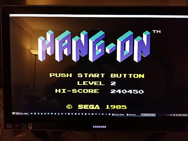 JES: Hang On [Level 2] (Sega Master System Emulated) 240,450 points on 2019-01-11 19:28:32
