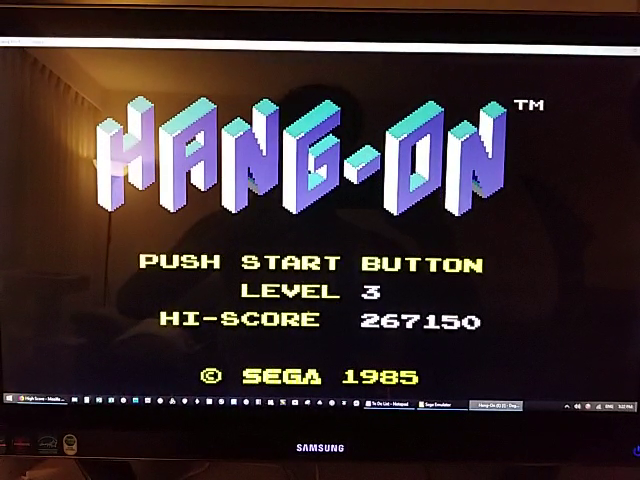 JES: Hang On [Level 3] (Sega Master System Emulated) 267,150 points on 2019-01-11 19:41:43