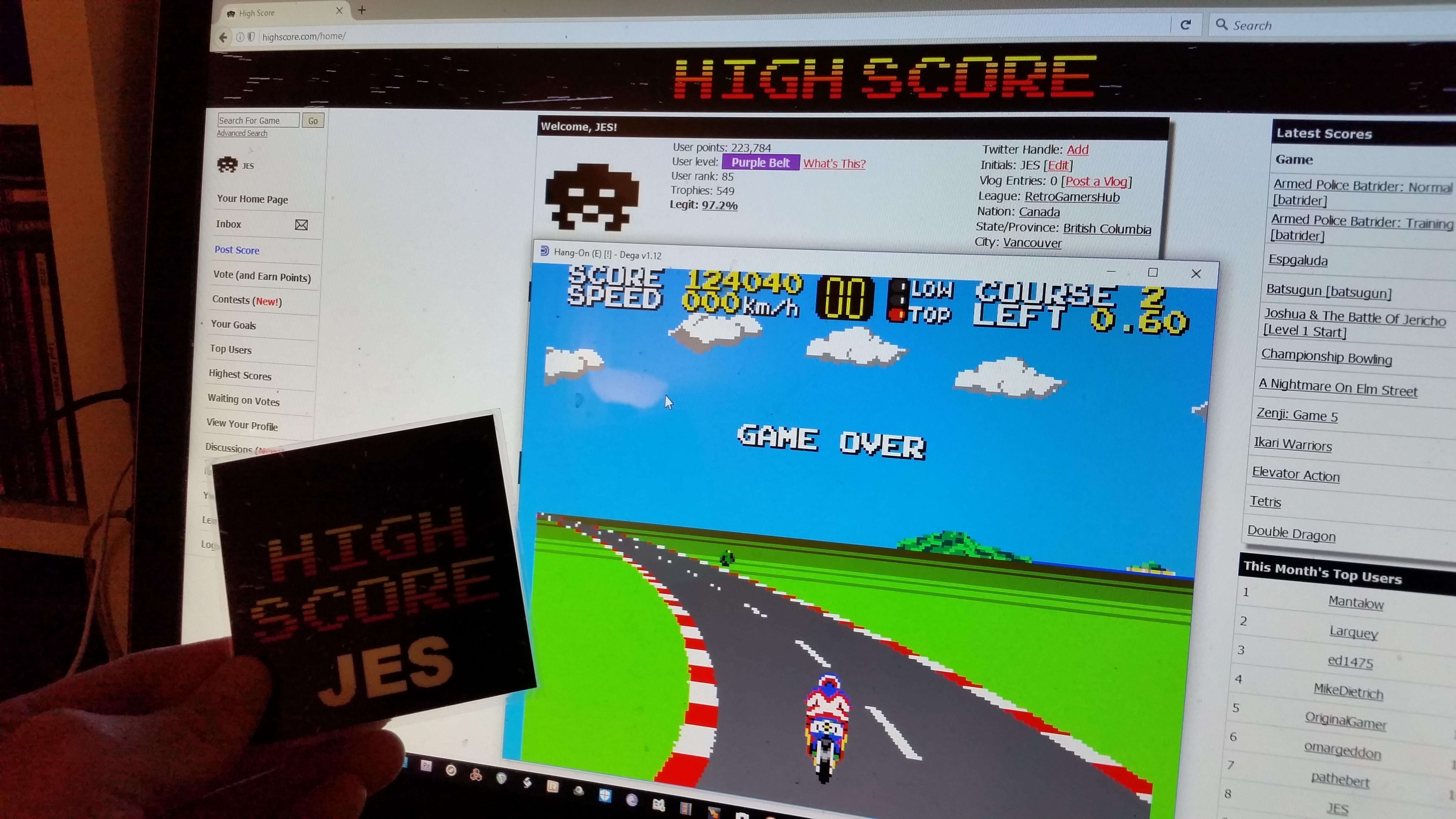 JES: Hang On (Sega Master System Emulated) 124,040 points on 2016-11-27 23:58:48