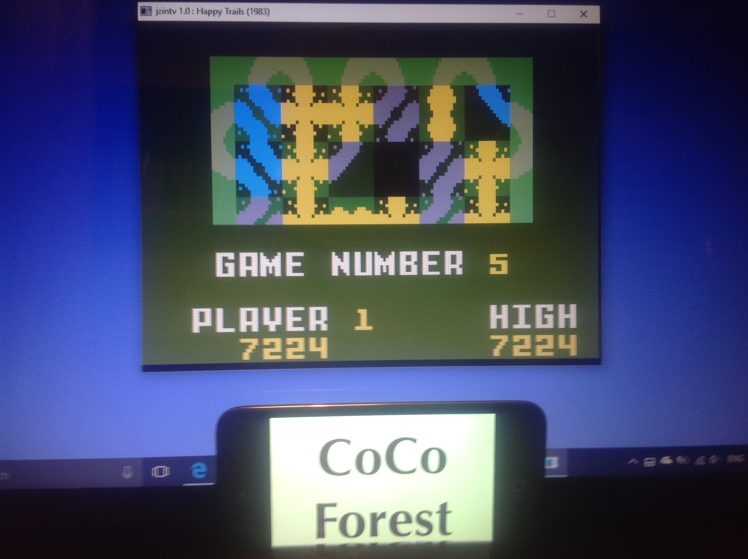CoCoForest: Happy Trails: Skill 5 (Intellivision Emulated) 7,224 points on 2018-01-23 11:31:42