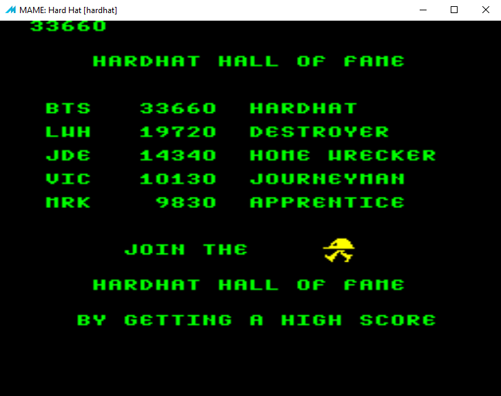 bensweeneyonbass: Hard Hat [hardhat] (Arcade Emulated / M.A.M.E.) 33,660 points on 2016-07-01 10:14:32