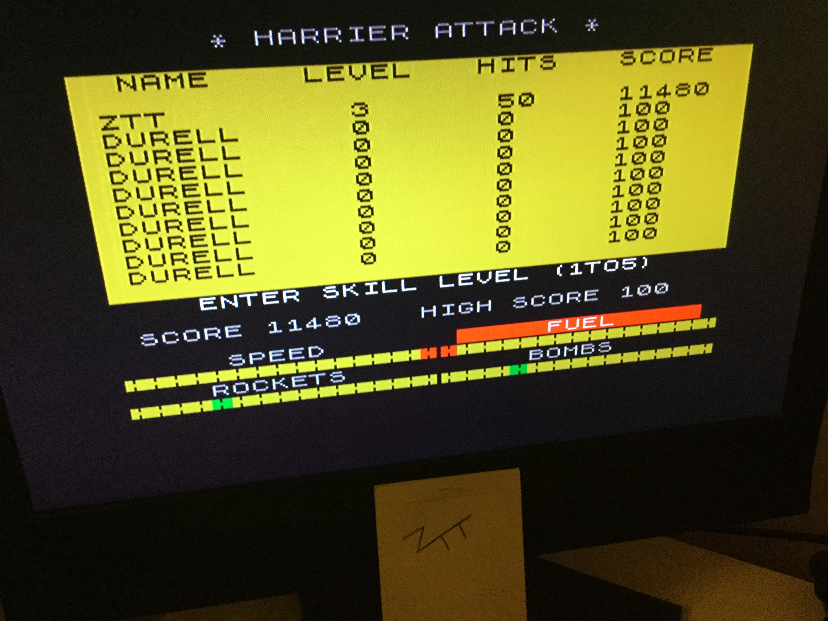 Frankie: Harrier Attack [Level 3] (ZX Spectrum) 11,480 points on 2020-06-12 06:29:57