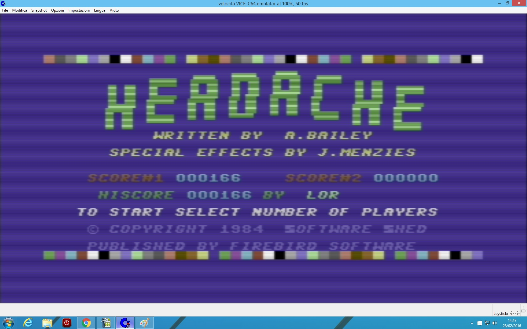 lenny2571: Headache (Commodore 64 Emulated) 166 points on 2016-02-28 07:47:58