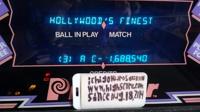 ichigokurosaki1991: Hollywood Heat (Pinball: 3 Balls) 1,688,540 points on 2016-04-09 10:01:25