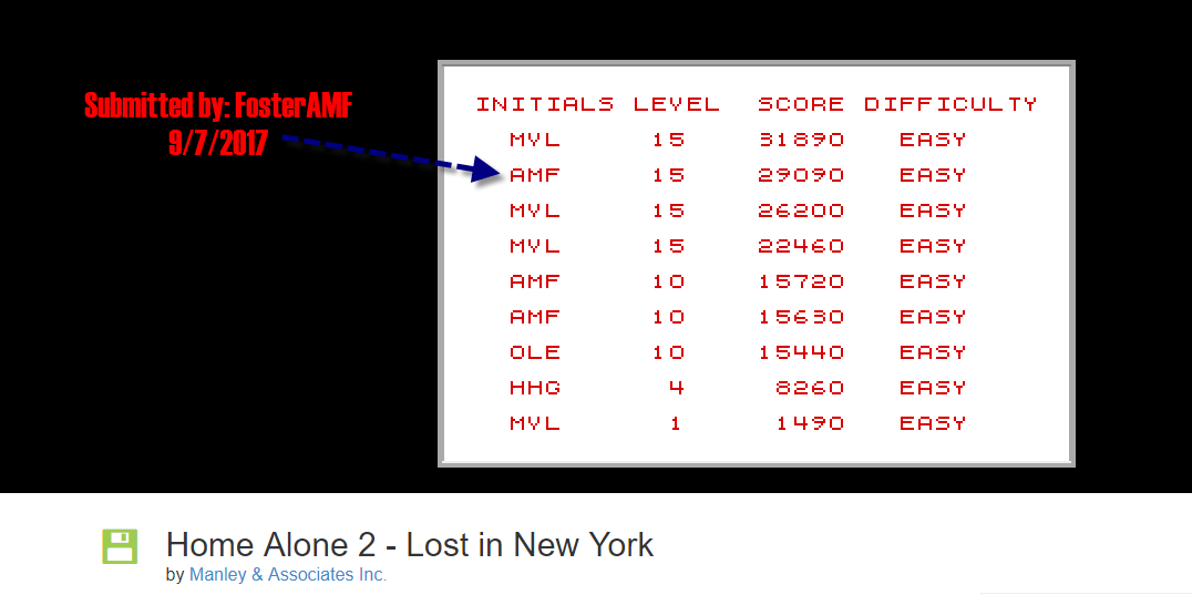 FosterAMF: Home Alone 2: Lost in New York [Easy] (PC Emulated / DOSBox) 29,090 points on 2017-09-07 15:58:34