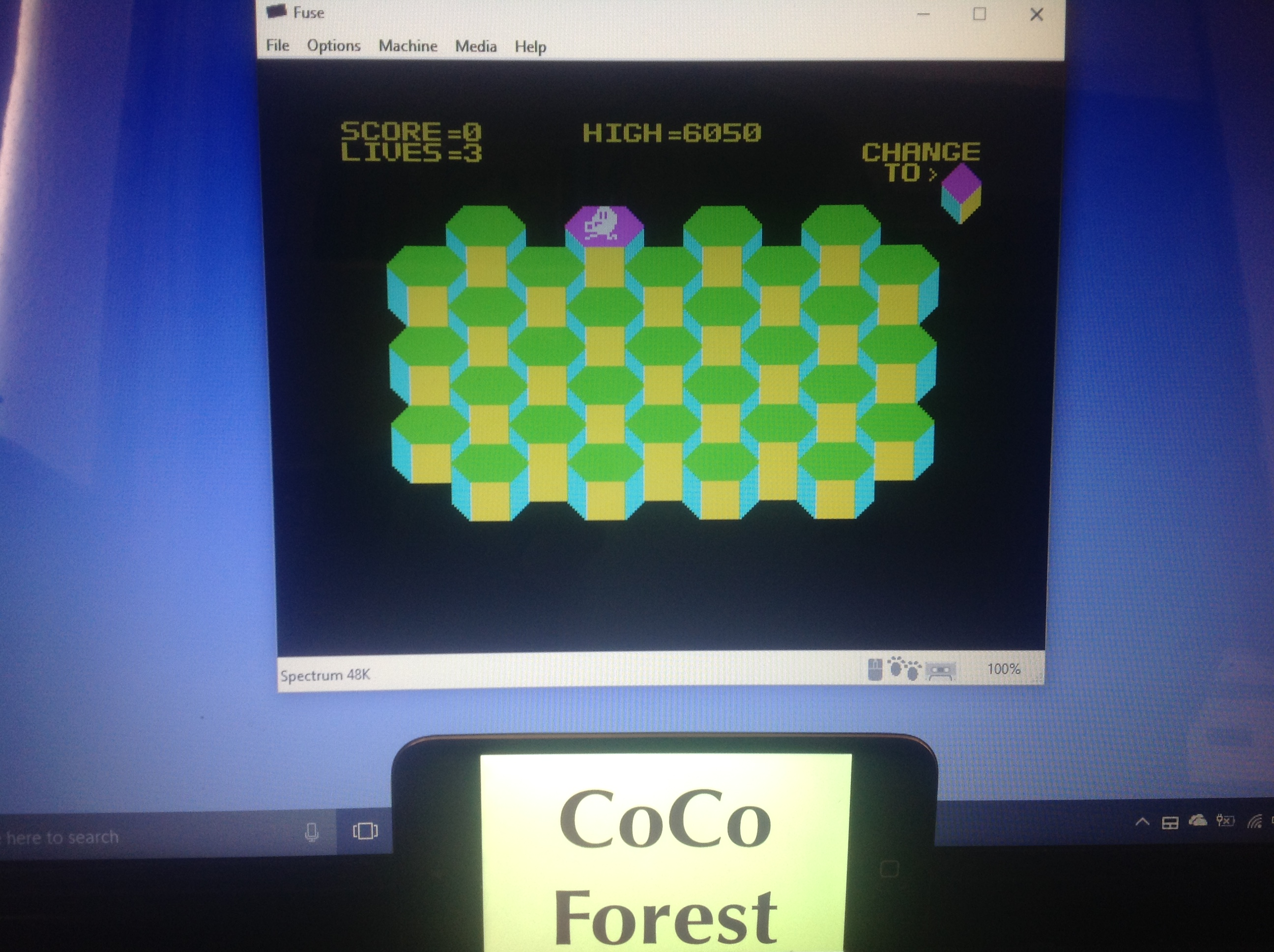 CoCoForest: Hubert (ZX Spectrum Emulated) 6,050 points on 2018-01-16 05:01:24