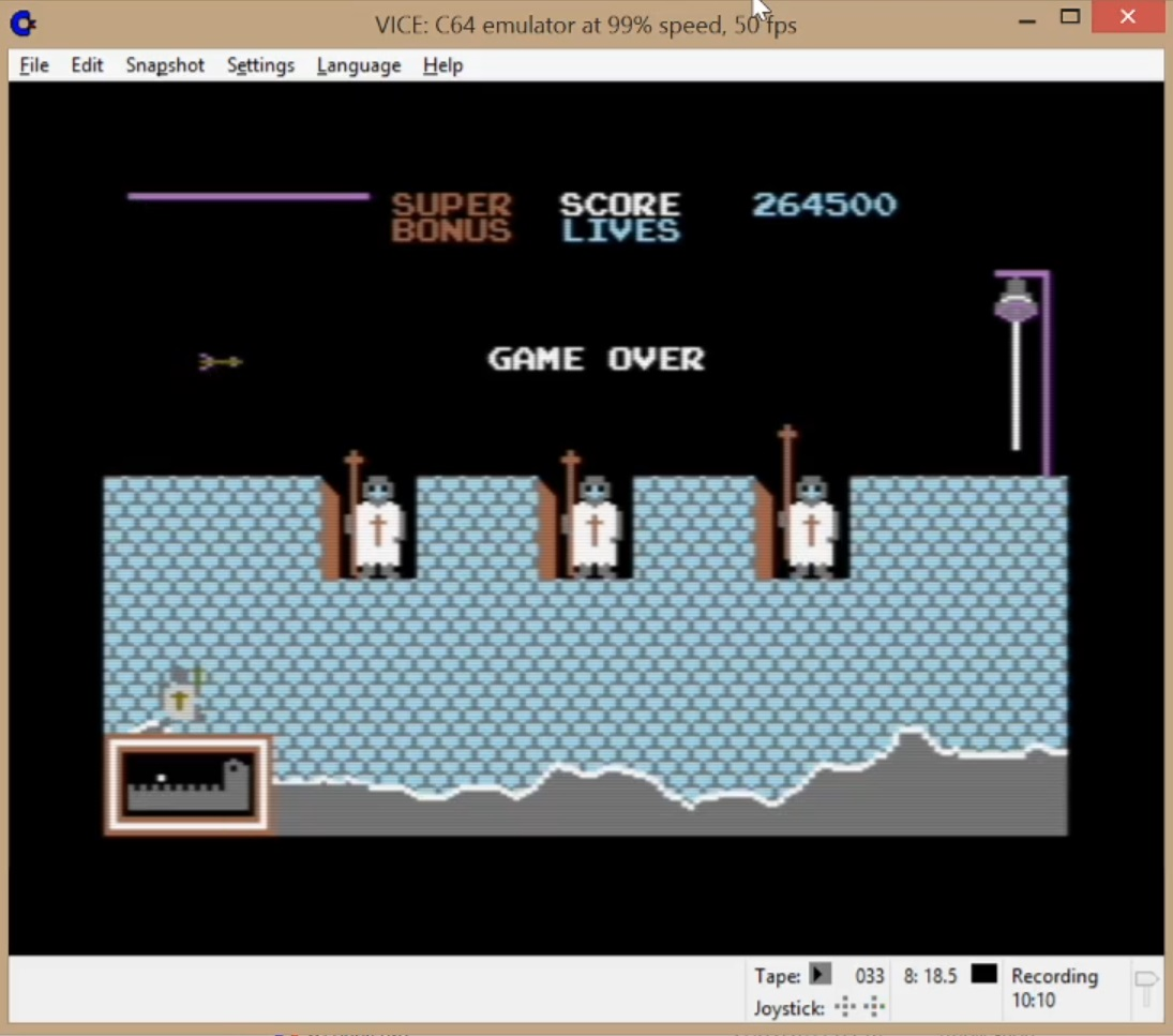 LuigiRuffolo: Hunchback (Commodore 64 Emulated) 264,500 points on 2020-05-18 16:25:35