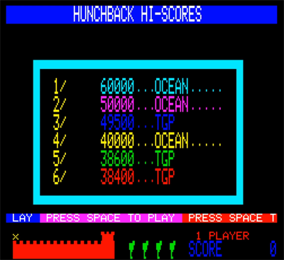 80sChips: Hunchback (Oric-1 Emulated) 49,500 points on 2020-08-09 06:21:41
