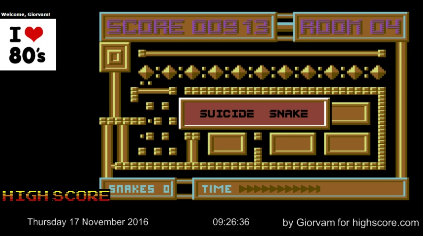 Giorvam: Hyper Snake (Commodore 64 Emulated) 913 points on 2016-11-17 01:40:59