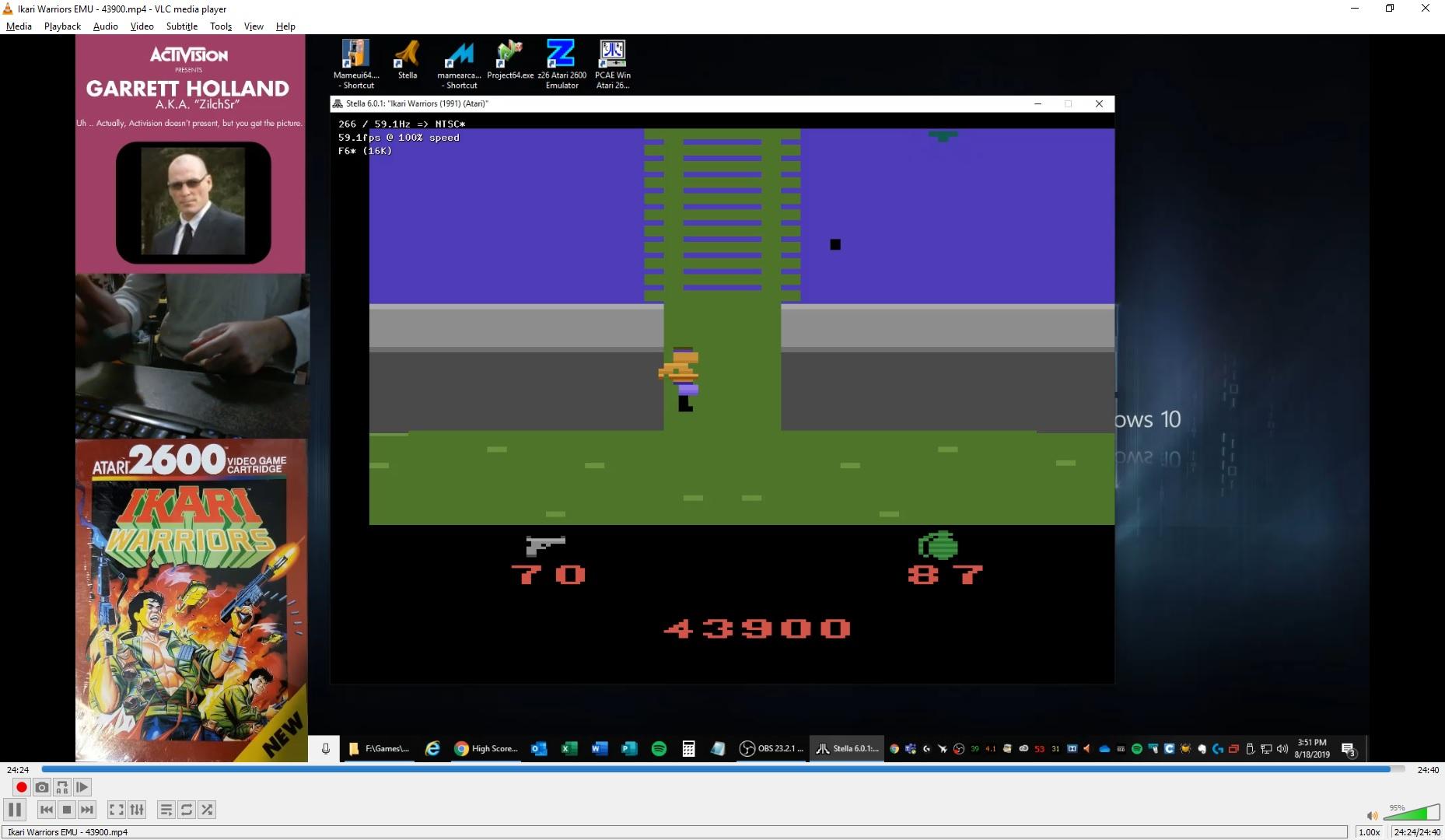 ZilchSr: Ikari Warriors (Atari 2600 Emulated Novice/B Mode) 43,900 points on 2019-08-18 14:57:16