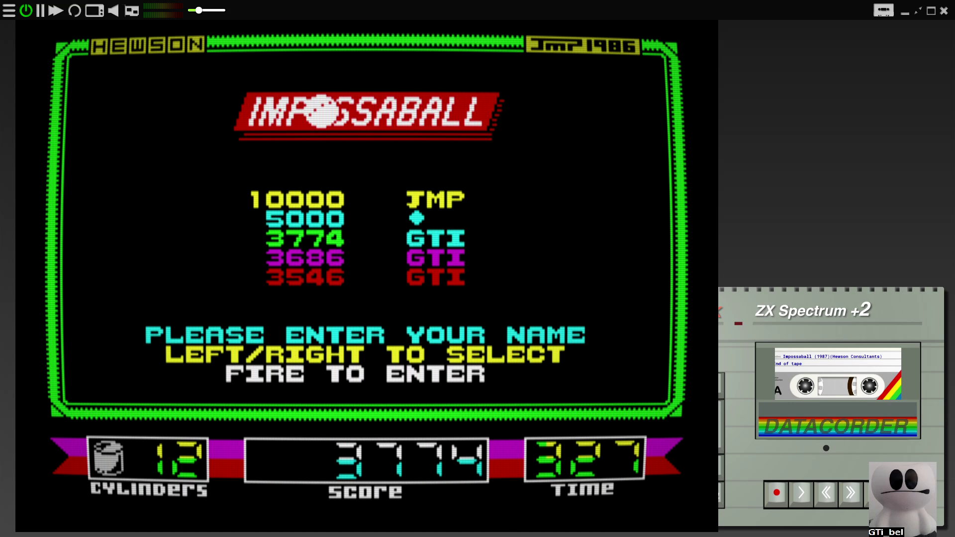 GTibel: Impossaball (ZX Spectrum Emulated) 3,774 points on 2020-08-06 10:45:10
