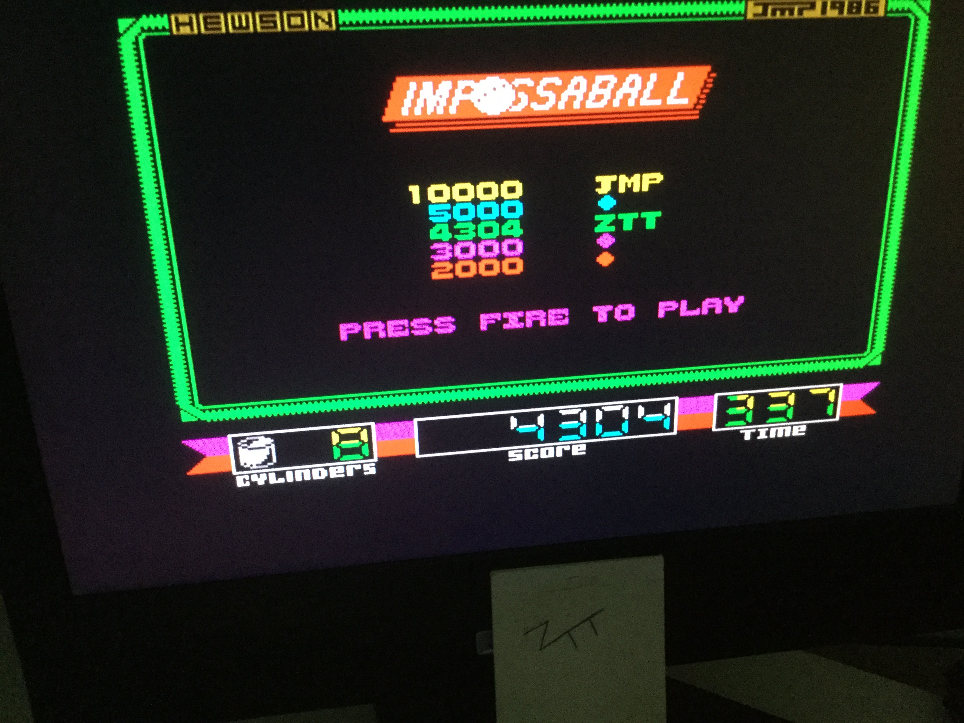 Frankie: Impossaball (ZX Spectrum) 4,304 points on 2020-09-05 05:55:33