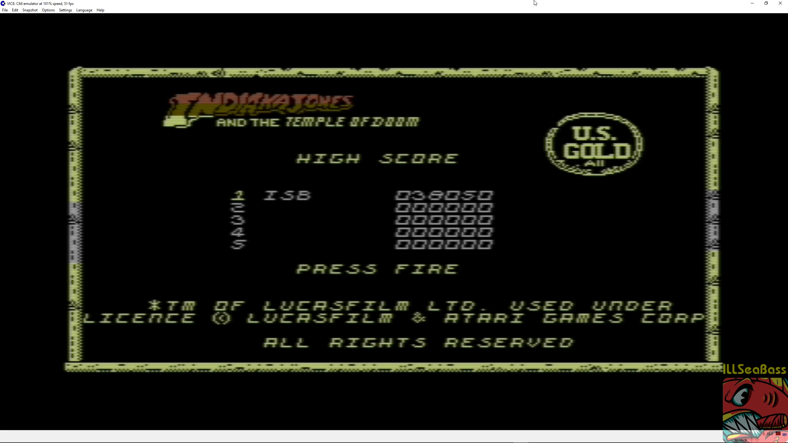 ILLSeaBass: Indiana Jones And The Temple Of Doom (Commodore 64 Emulated) 38,050 points on 2018-03-13 01:26:56