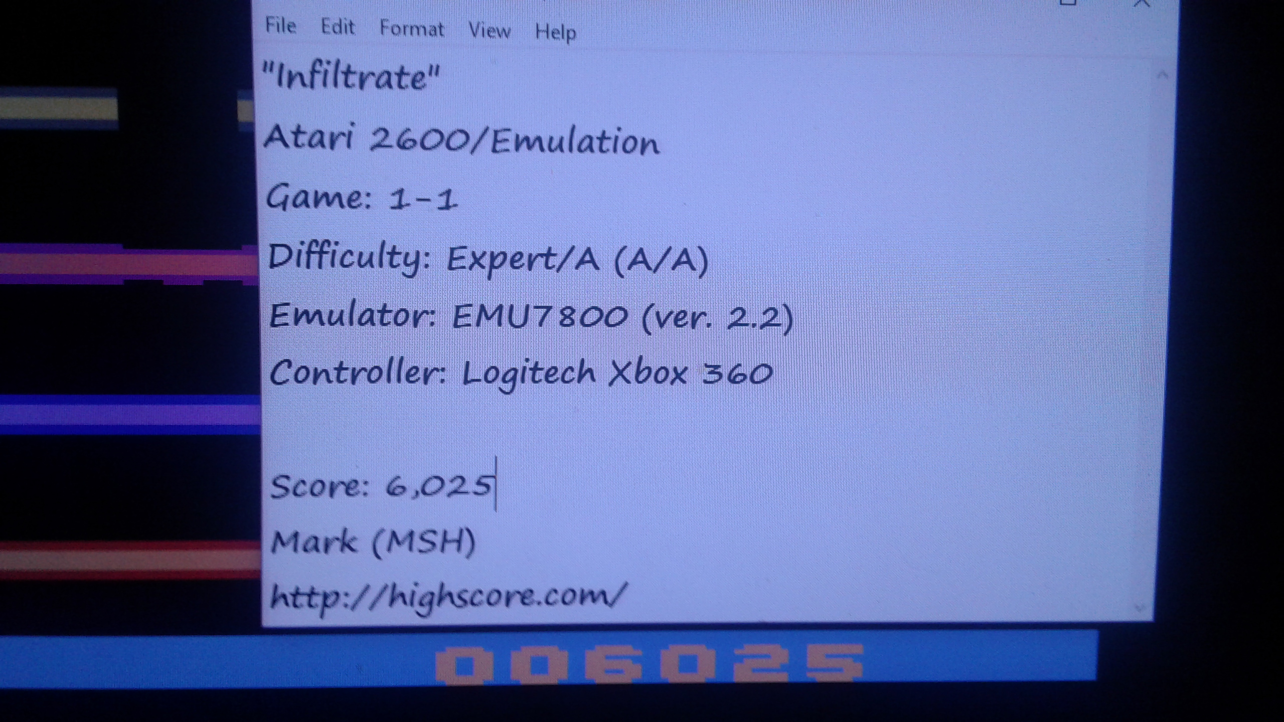 Mark: Infiltrate (Atari 2600 Emulated Expert/A Mode) 6,025 points on 2019-02-25 03:28:04