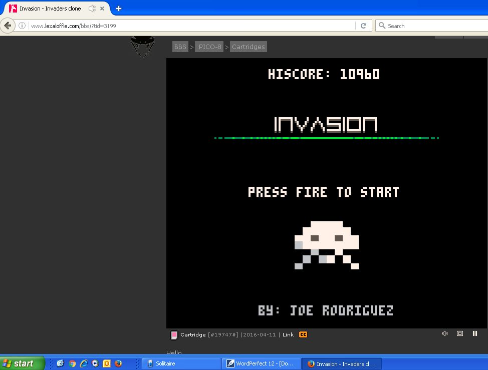 DarrylB: Invasion [Pico-8] (Web) 10,960 points on 2016-06-15 19:26:30