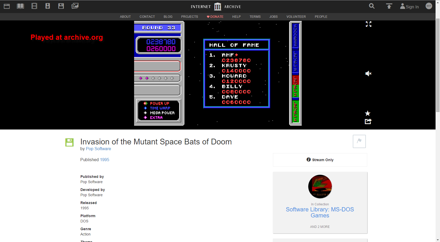 FosterAMF: Invasion of the Mutant Space Bats of Doom (PC Emulated / DOSBox) 238,780 points on 2015-12-03 15:58:21