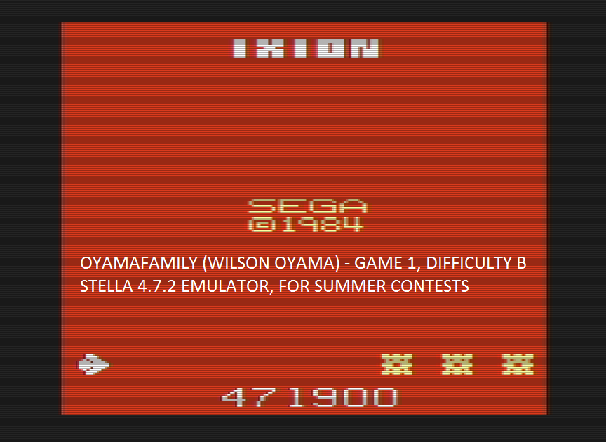 oyamafamily: Ixion (Atari 2600 Emulated Novice/B Mode) 471,900 points on 2016-08-03 21:04:32