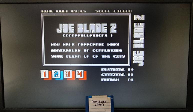 ransom: Joe Blade 2 [[Citizens + Dustbins] * [Score]] (Amiga Emulated) 948,600 points on 2021-04-11 00:03:59