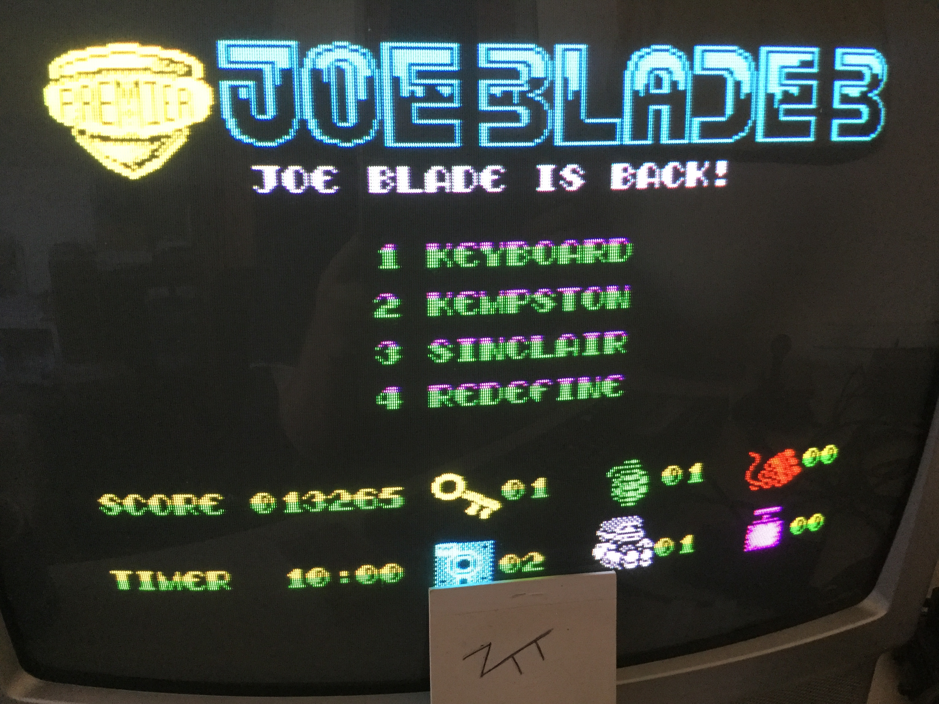 Frankie: Joe Blade 3 [100,000 Points Completion Bonus] (ZX Spectrum) 13,265 points on 2019-02-11 06:28:50